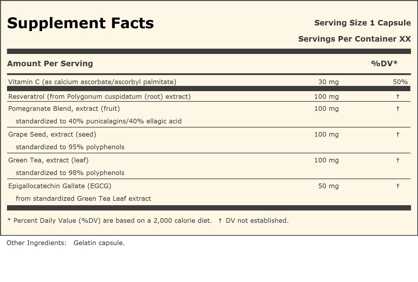 Andrew Lessman Resveratrol-100 with Green Tea 100 Grape Seed 100 Pomegranate 100, 180 Capsules