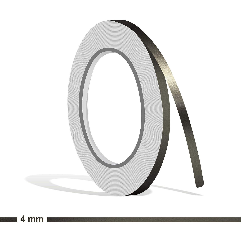 Siviwonder Zierstreifen anthrazit grau metallic Glanz in 4 mm Breite und 10 m L/änge Folie Aufkleber f/ür Auto Boot Jetski Modellbau Klebeband Dekorstreifen dunkelgrau Silber