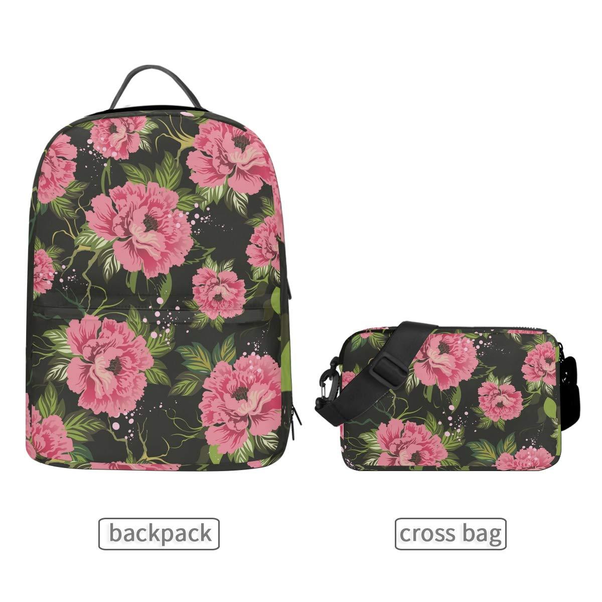 Dark Flower Shoulder Backpack Messenger Crossbody Laptop Bag Student Bookbags for Kid Girls Boys