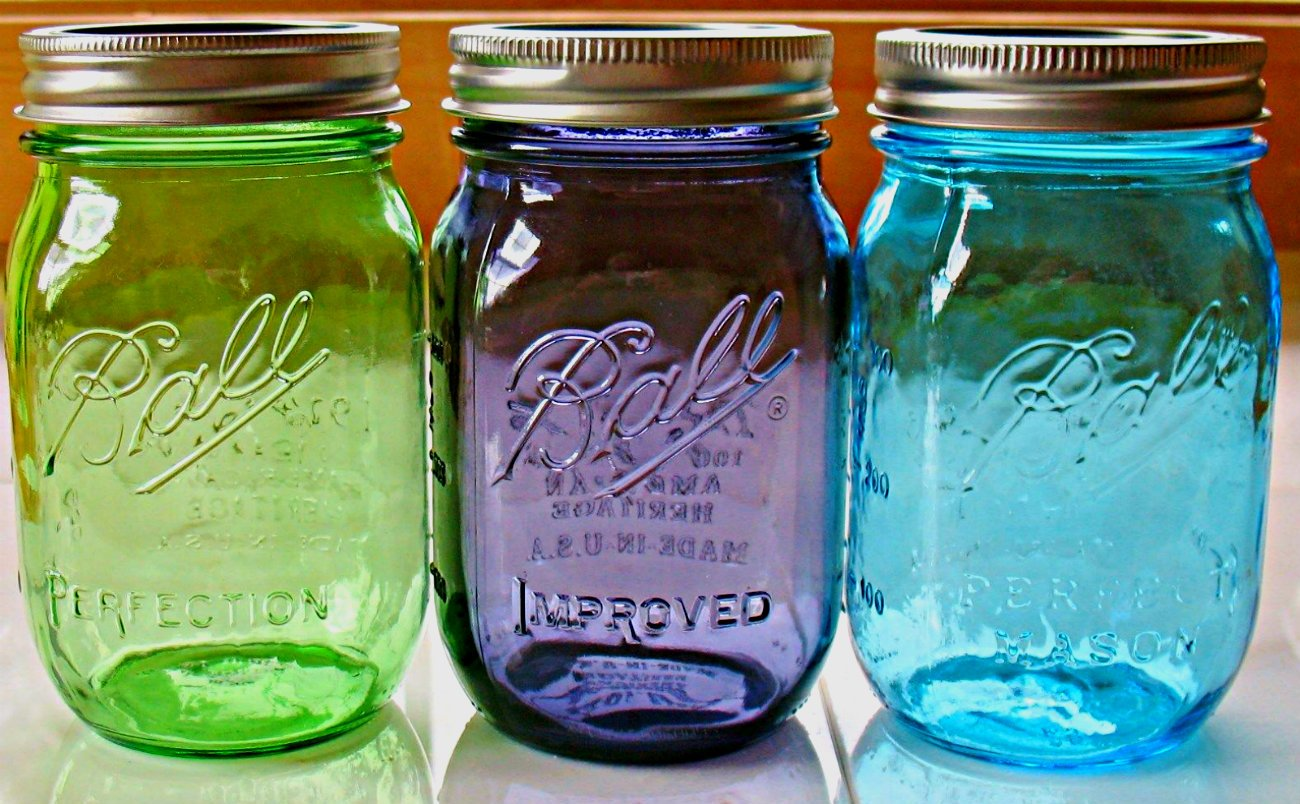 Ball Complete 100th Anniversary Set of Three - American Heritage Vintage Collection Mason Jars (16 oz) Blue,Green,Purple - (one of Each Color Included)