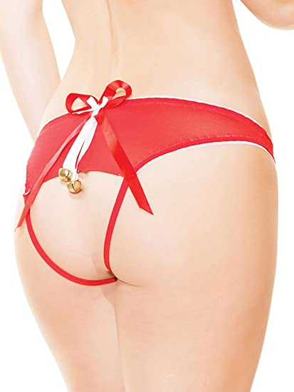 d3239aff12a Amazon.com  Coquette 3412 Crotchless Panty Color Red White Size OS ...