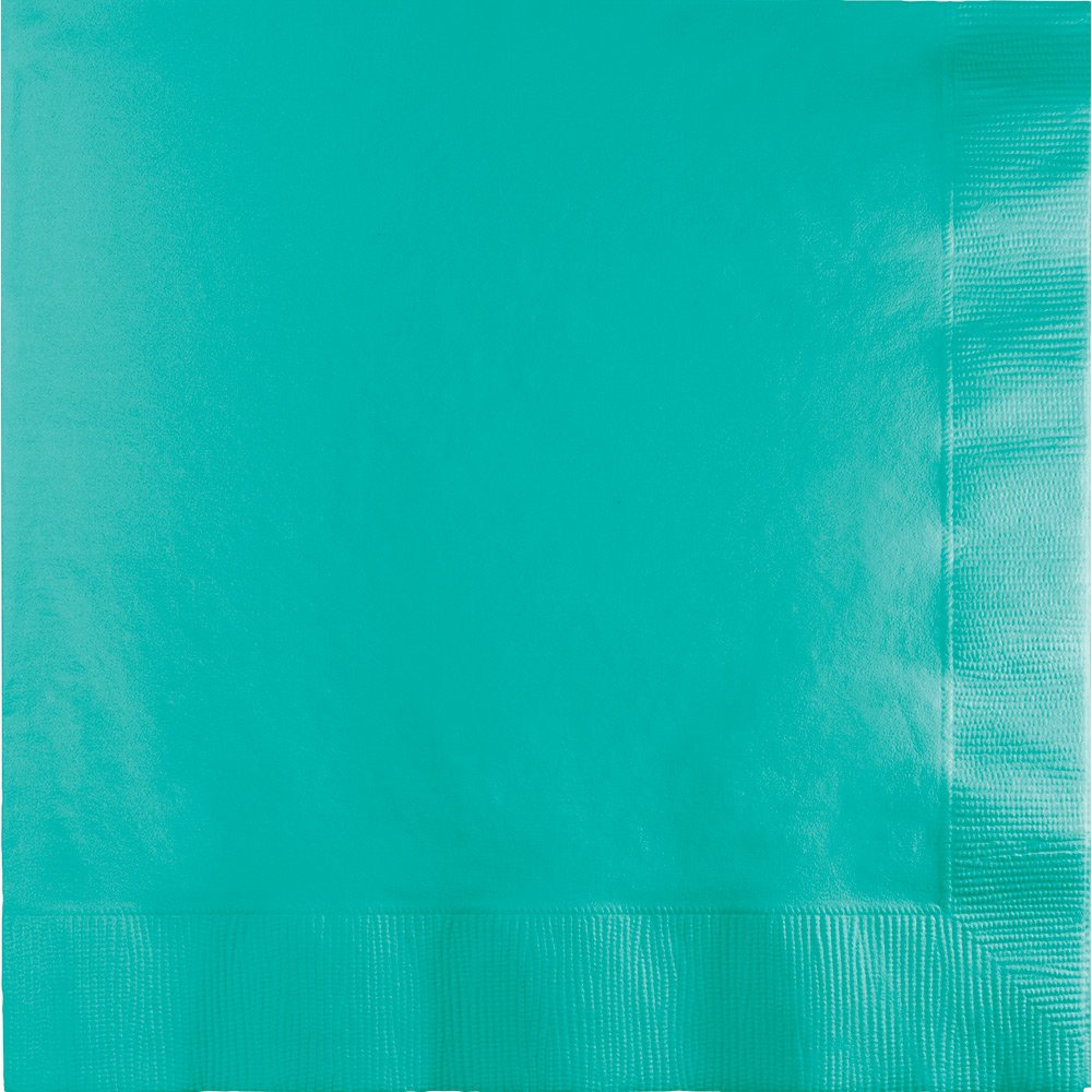 Touch of Color 250-Count 1/4 Fold 3-Ply Paper Dinner Napkins, Teal Lagoon