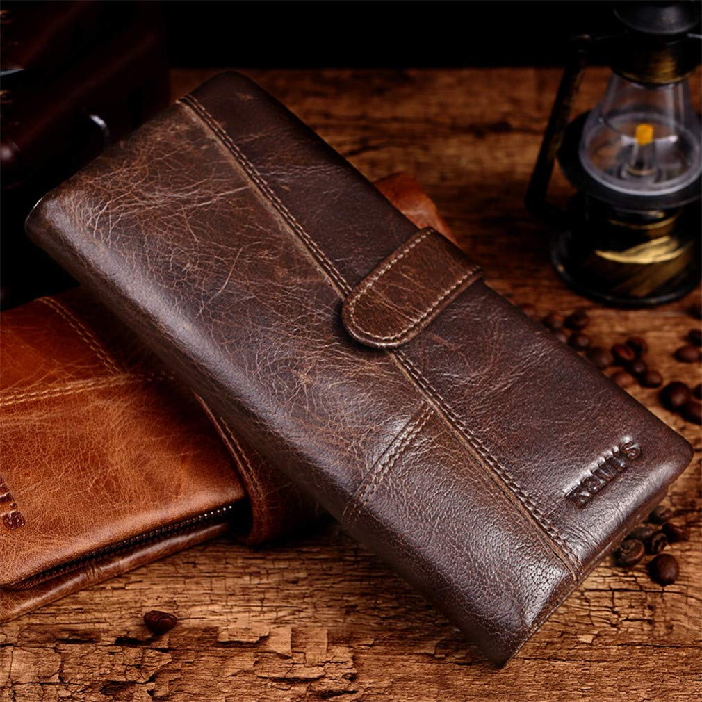 Cowhide Leather Vintage Male Wallets Men Clutch With Coin Purse Pocket Rfid