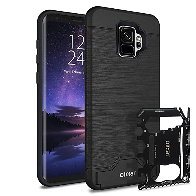 cheap for discount b7ef9 e638e Samsung Galaxy S9 Tough Case with Multi Tool Card - 26 in 1 Survival Card -  Kickstand + Secure Credit Card Slot - Olixar X-Ranger - Tactical Black