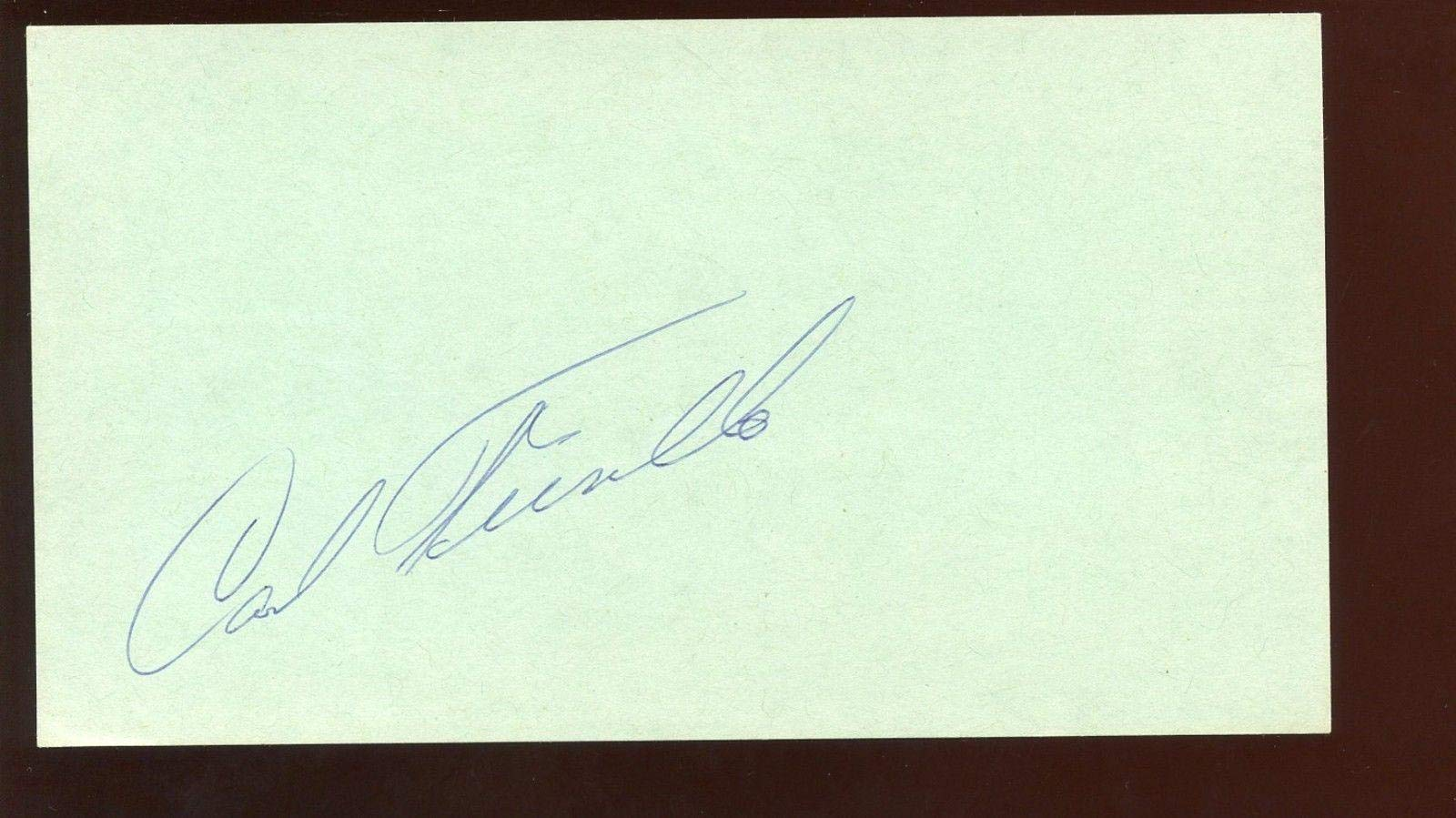 Carl Furillo Signed 3 1/2 X 6 1/4 Index Card Hologram MLB Cut Signatures
