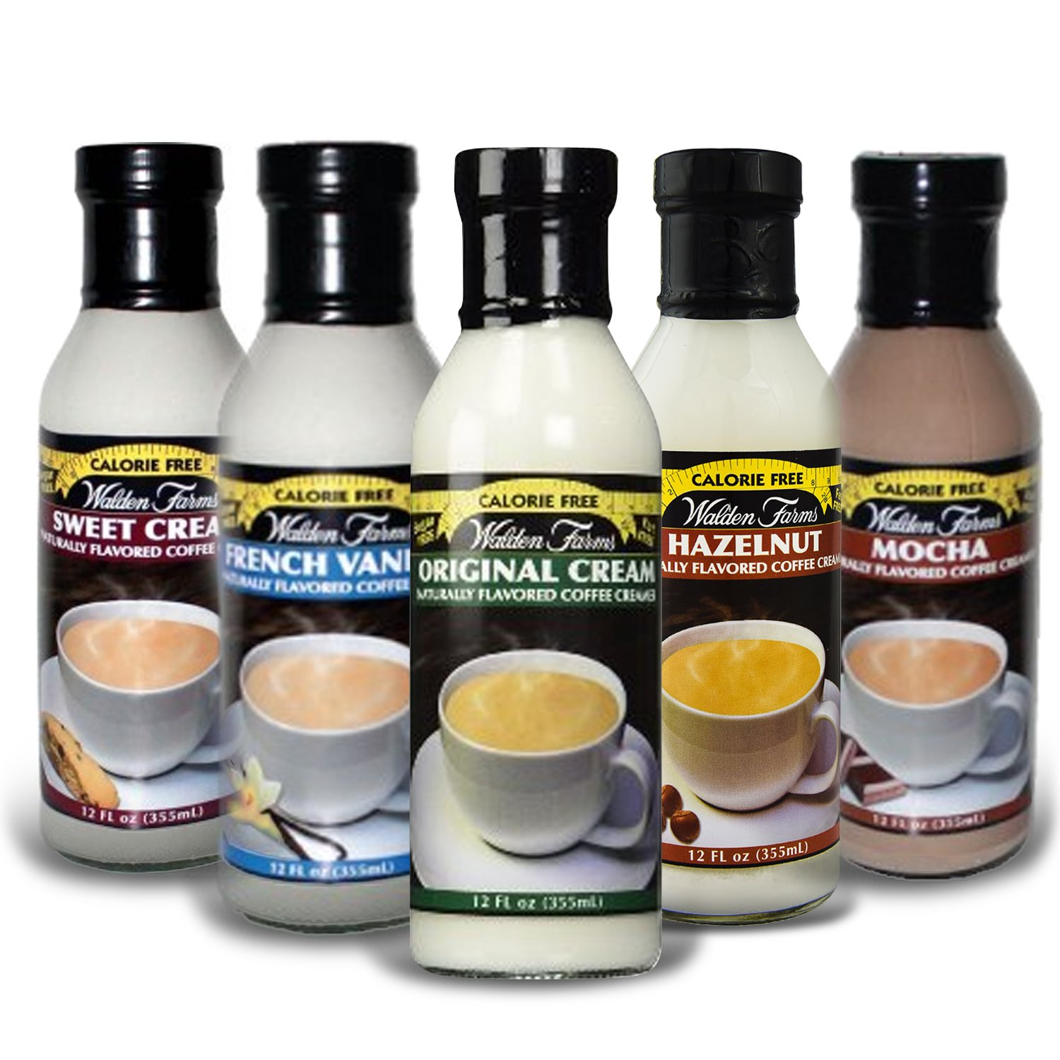 Walden Farms Coffee Creamers Calorie Free, Dairy Free, Carb Free And Vegan Pack of 5 ( Original Cream - Sweet Cream - Mocha- Hazelnut & French Vanilla )