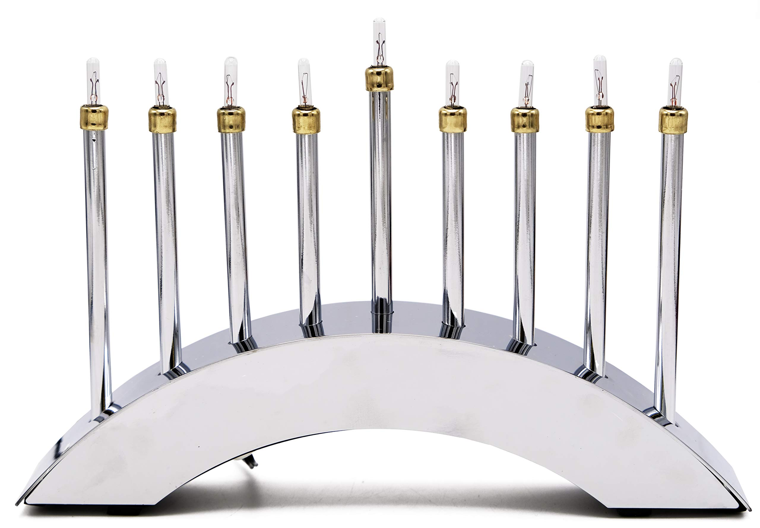 Electric Menorah Hanukkah Contemporary Menora Highly Polished Chrome Low-Voltage Electric Chanuka Menora