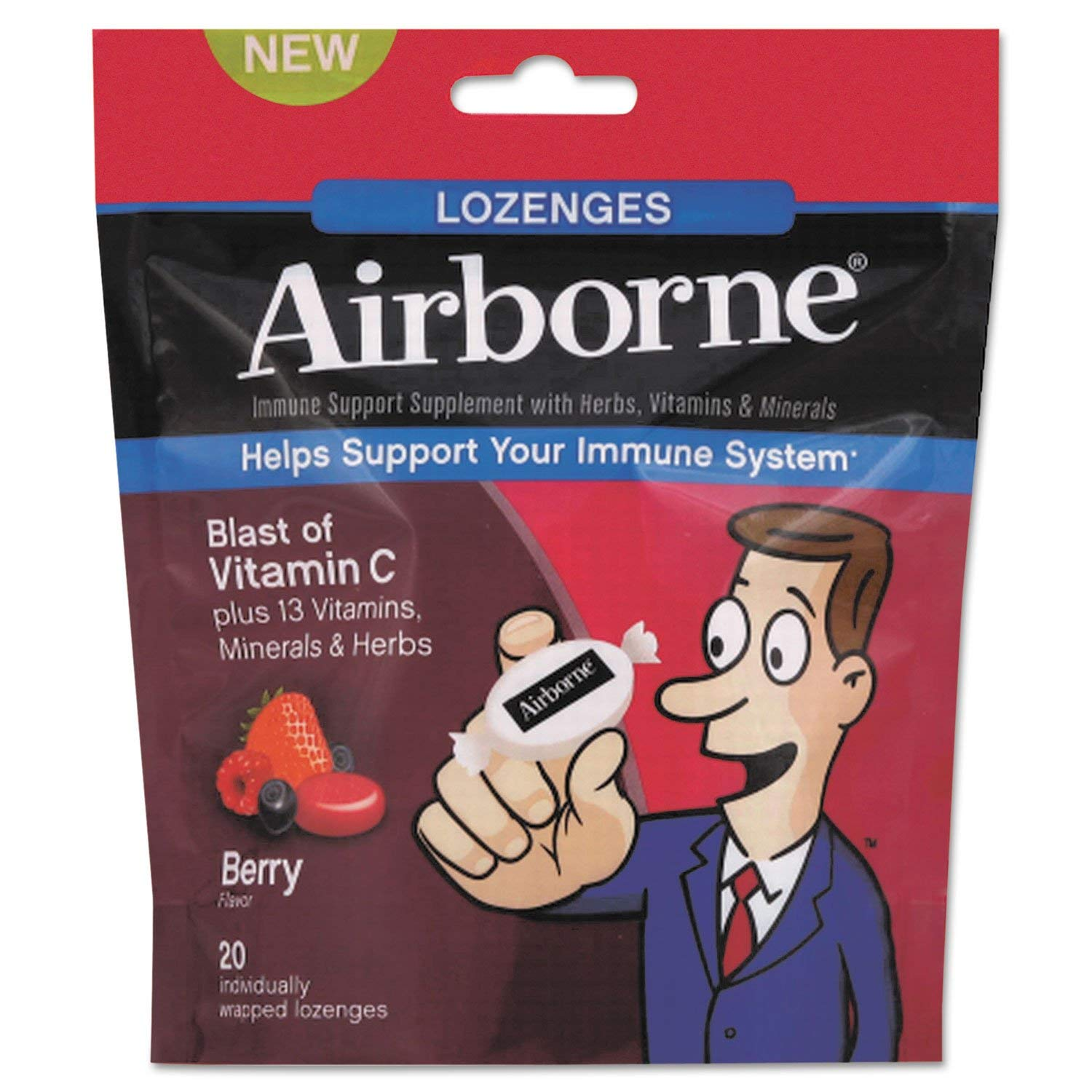 Airborne 18591CT Immune Support Lozenge, Berry Flavor, 20/PK, 12 PK/CT by Airborne