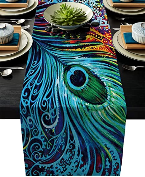 Seafoam Sea Blue Delicate Animal Feathers Ornate Pattern Lunarable Peacock Bed Runner Decorative Accent Bedding Scarf for Hotels Homes and Guestrooms