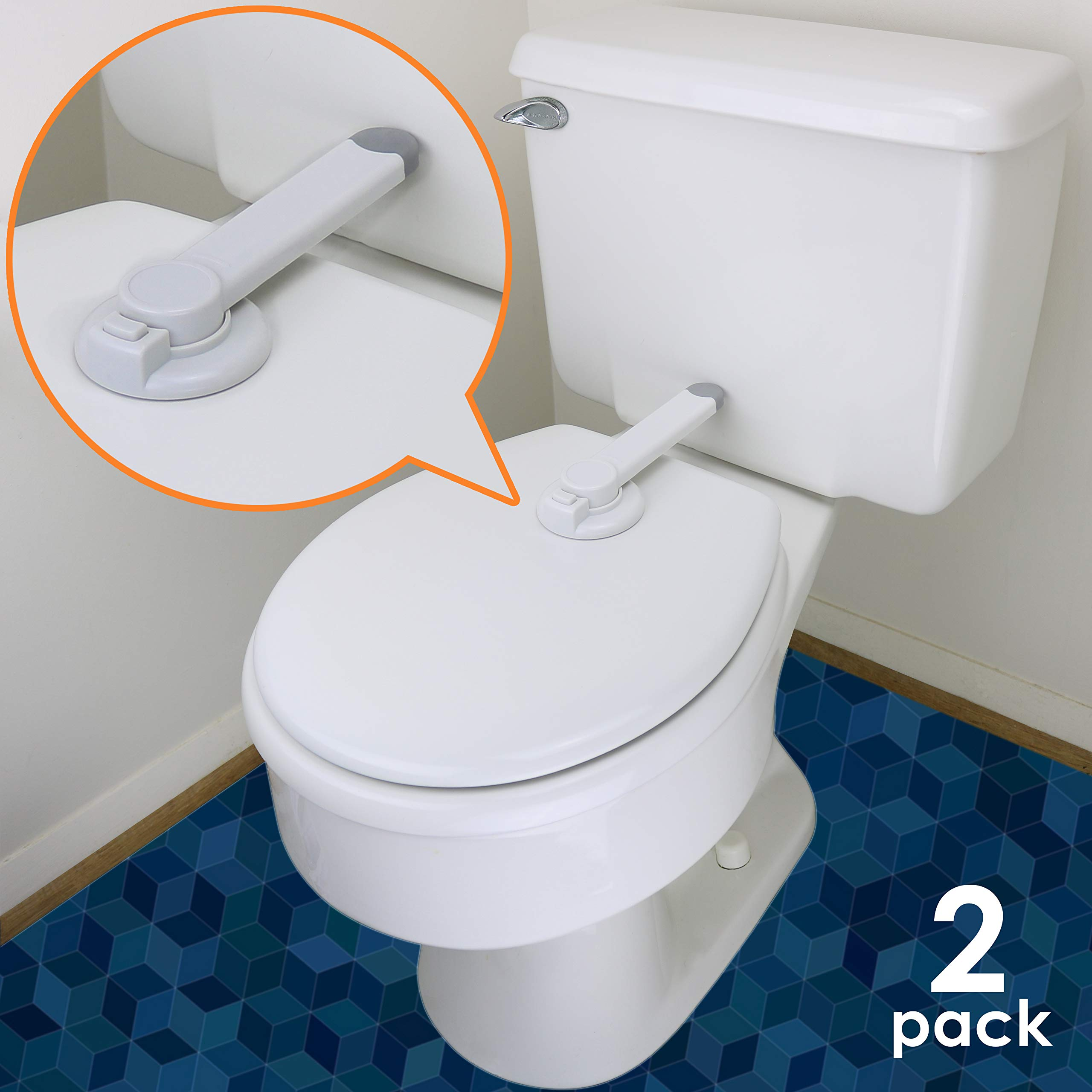 Baby Toilet Lock - Ideal Baby Proof Toilet Lid Lock with Arm - No Tools Needed Easy Installation with 3M Adhesive - Top Safety Toilet Seat Lock - Fits Most Toilets - White (2 Pack, White)