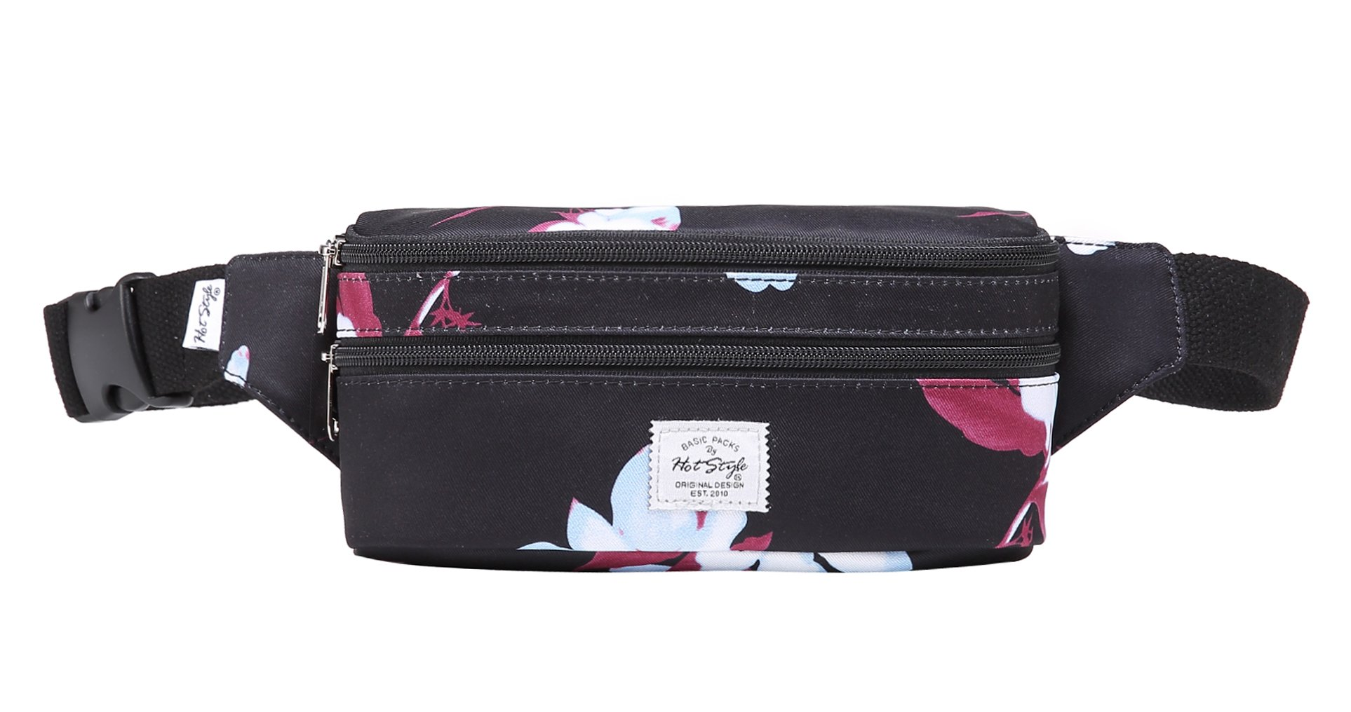 521s Fashion Waist Bag Cute Fanny Pack | 8.0''x2.5''x4.3'' | Magnolia, Black by hotstyle