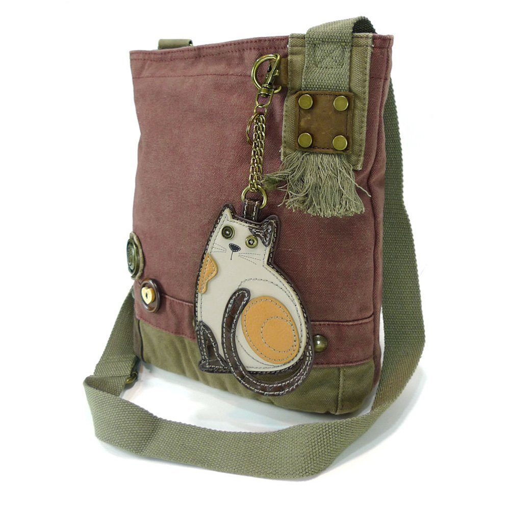 Chala Handbags Patchwork Crossbody Canvas Messenger Bags with Faux Leather Animal Coin Purse, Mauve Cat