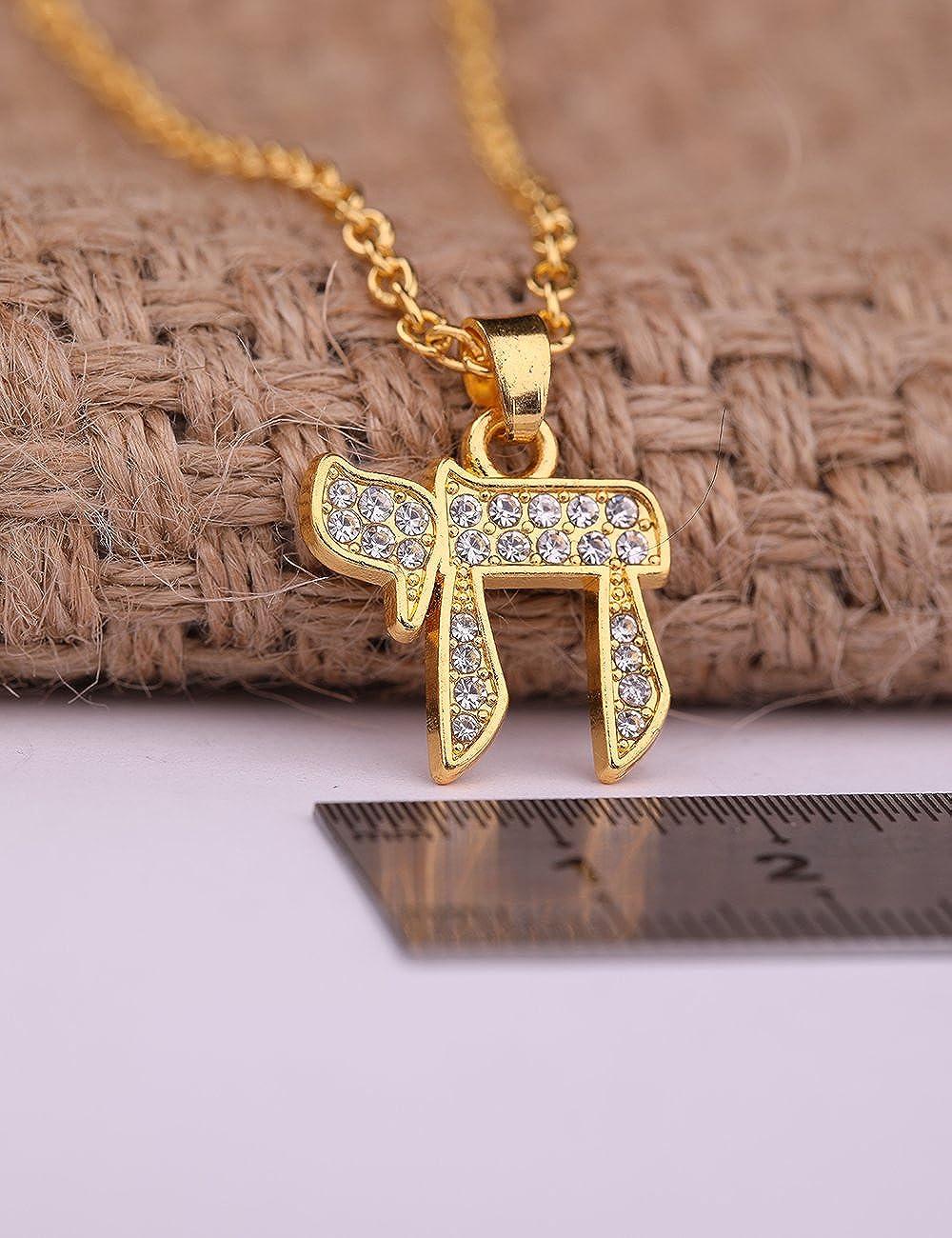 Dawapara Hebrew Letter Chai Pendant Good Luck Symbol Jewish Jewelry for Men Women