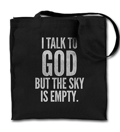 Amazoncom I Talk To God But The Sky Is Empty Atheist Black Canvas