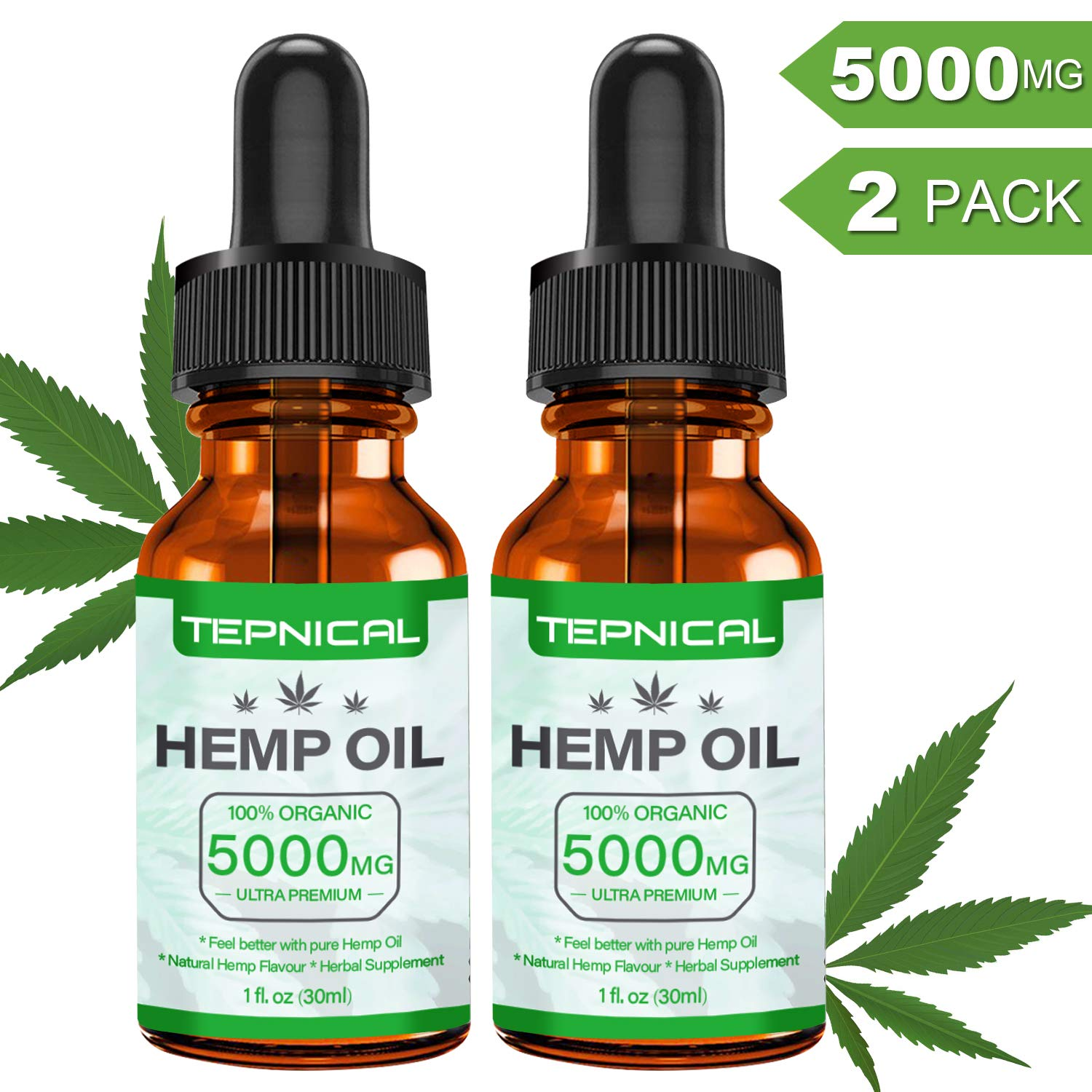 Hemp Oil with 5000mg of Organic Hemp Extract for Pain, Anxiety & Stress Relief - 100% Natural Hemp Oil Drops, Helps with Sleep, Skin & Hair(2-Pack/60ML) by TEPNICAL