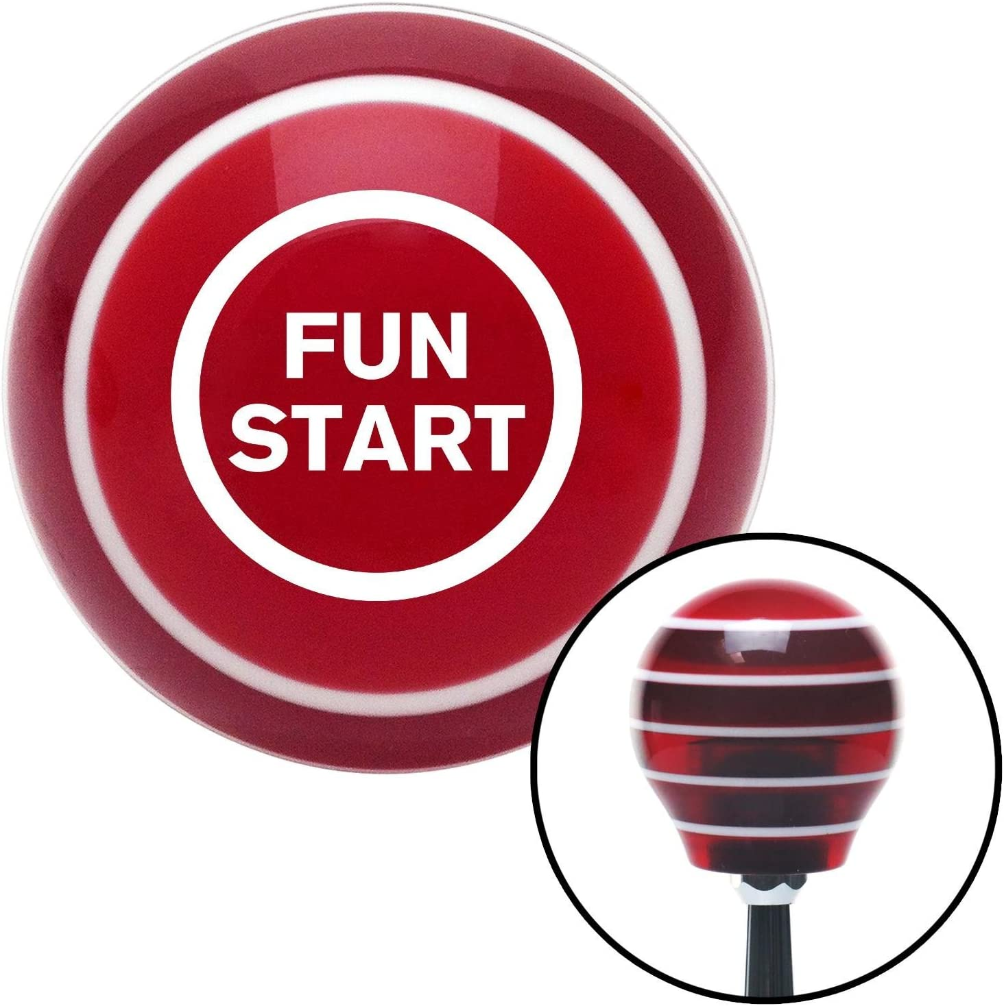 White Fun Start American Shifter 119704 Red Stripe Shift Knob with M16 x 1.5 Insert