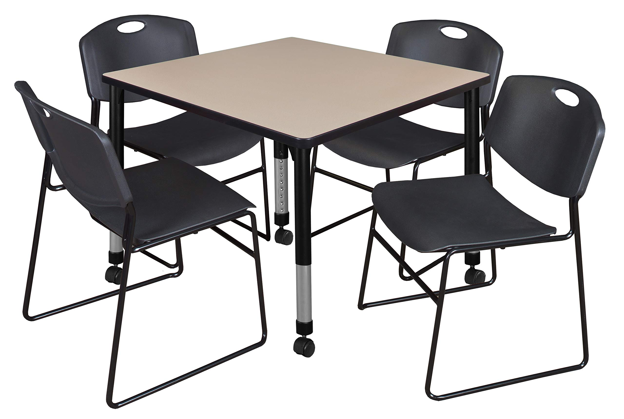 Regency TB4242BEAPCBK44BK Kee Height Adjustable Mobile Classroom Table Set with Four Zeng Chairs 42'' Beige/Black