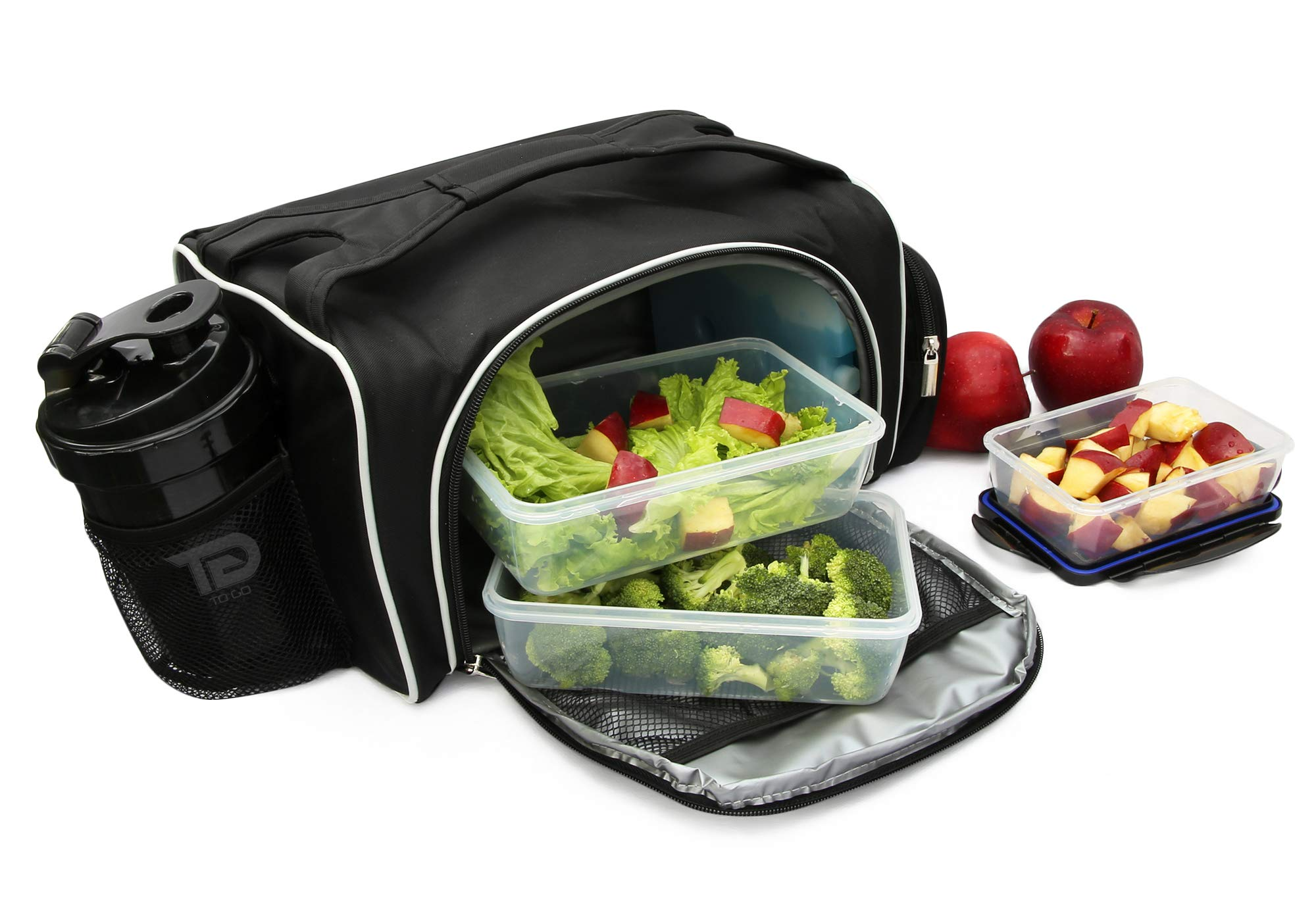 Meal Prep Bag By TO GO Insulated Lunch Meals Bag W/6 Portion Control Containers,2 ICE PACKS, Shaker, Pill Box,With an Adjustable shoulder. bag for meals (Black/new) by TO GO (Image #6)