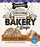 Three Dog Bakery Itty Bitty Bones Baked Dog Treats, Peanut Butter, 13 oz