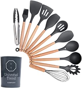 UNIVERSAL TREND - Kitchen Utensils Set - 11 Pcs Kitchen Cooking Utensils Set - Non-Stick Spoon Set - 230°C Heat Resistant Food Cookware - Non-Scratch Wooden Cook's Gadgets - Kitchen Essentials