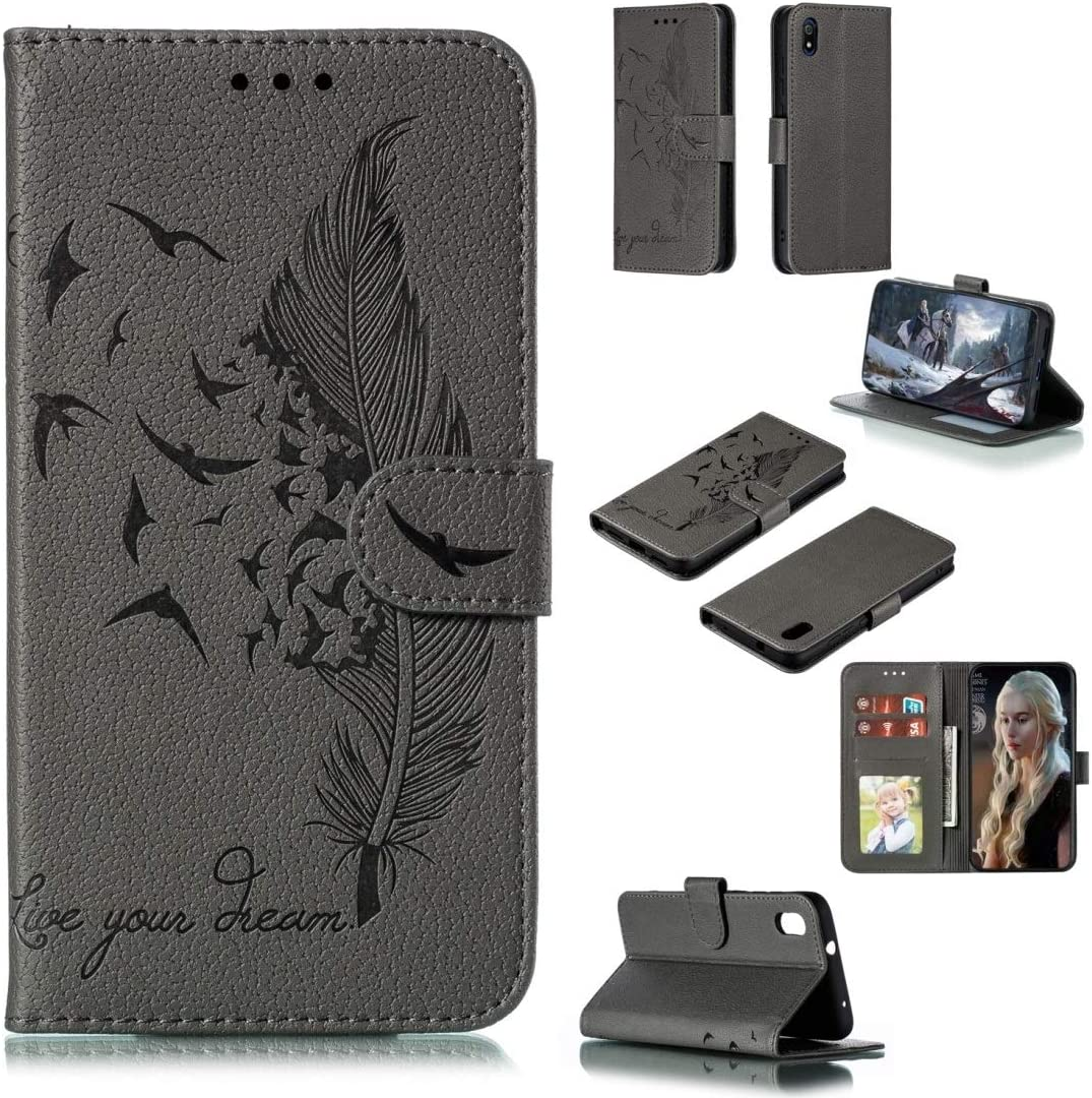 Phone case Feather Pattern Litchi Texture Horizontal Flip Leather Case with Wallet /& Holder /& Card Slots For Xiaomi Redmi 7A Red Color : Gray