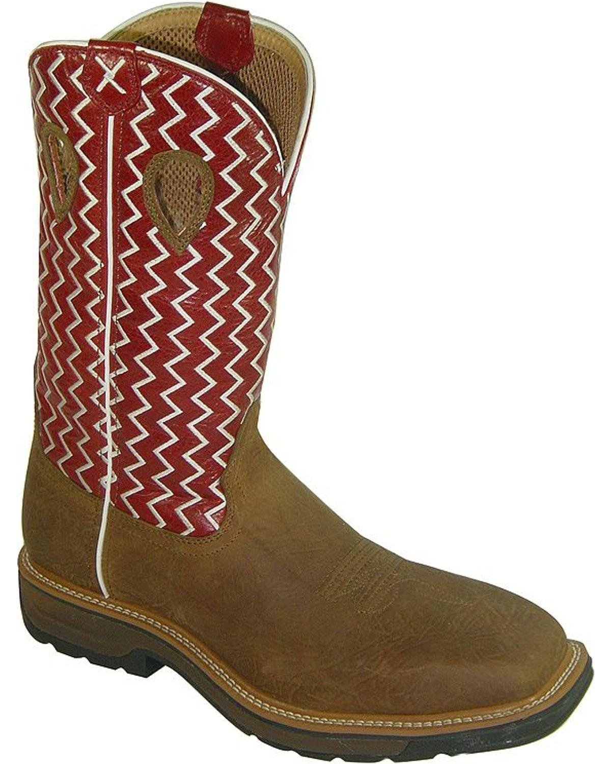 MLCW001 Twisted X Men's Lite Cowboy Work Boots - Cherry/Brown - 11.0 - D