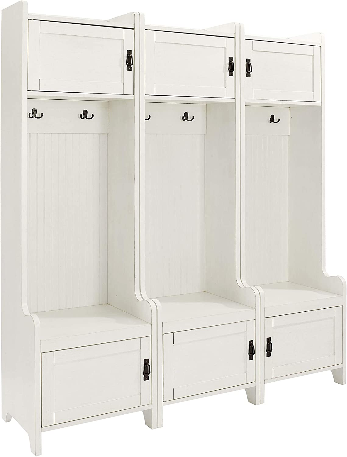 Crosley Furniture Fremont Tower Entryway Hall Tree with Storage (Set of 3), Distressed White