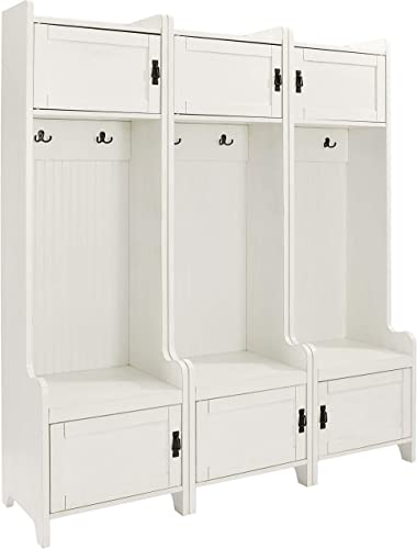 Crosley Furniture Fremont Tower Entryway Hall Tree with Storage Set of 3 , Distressed White