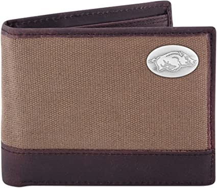 ZEP-PRO NCAA Mens Black and Brown Leather Passcase Concho Wallet One Size
