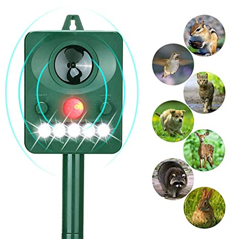LANSONTECH Solar Animal Repeller, Humane Ultrasonic Pest Control Repellent PIR Sensor Alarm with Ultrasonic Sound, LED Flashing Light and Motion ...