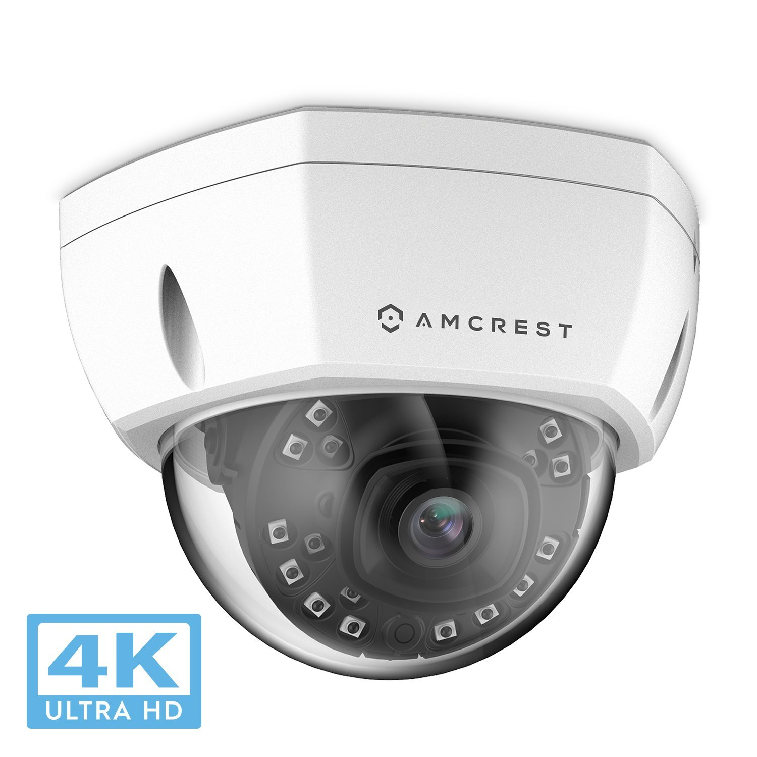 Amcrest UltraHD 4K (8MP) Outdoor Security POE IP Camera, 3840x2160, 98ft NightVision, 2.8mm Lens, IP67 Weatherproof, IK10 Vandal Resistant Dome, MicroSD Recording, White (IP8M-2493EW) by Amcrest