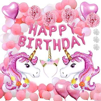 Aperil 52pcs Unicorn Party Supplies Decorations, Enorme Papel de Helio Unicornio Corazón y Globos de látex Feliz cumpleaños Banner Unicorn Diadema ...