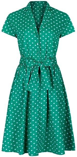 new arrival dc9c5 eeb71 Abito in stile anni 40 e 50 da donna, stile vintage, verde a ...