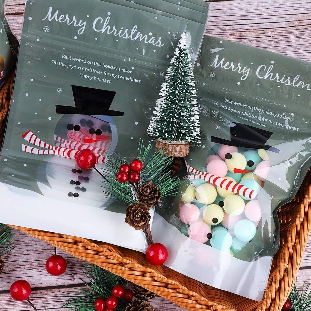 Frgasgds Weihnachten S/ü/ßigkeiten Taschen 50 St/ück Kleine Beutel Mit Fenster Weihnachten Snacks Taschen S/ü/ßigkeit Keks Taschen Weihnachten behandeln Taschen f/ür Weihnachten Kekse Kuchen Schokolade