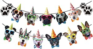 Dog Faces Birthday Banner Dog Birthday Garland Dog Theme Party Bunting Decoration Party Supplies