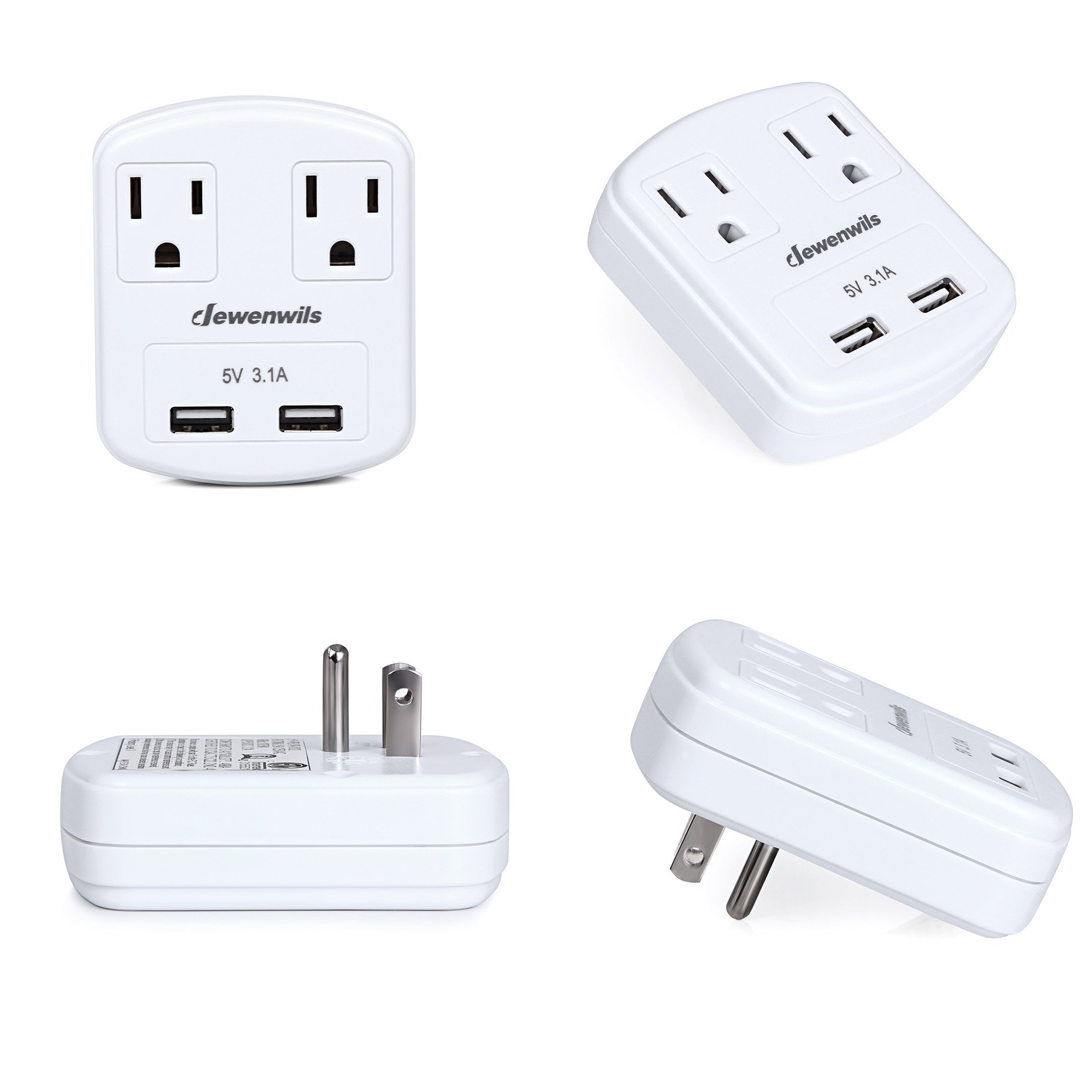 Dewenwils Multi Outlet Plug with 2 USB Ports (3.1A Total), Small Power Strip USB Charger for Cruise Ship/Hotel / Dormitory, Compatible with GFCI, ETL Listed, White by DEWENWILS (Image #8)