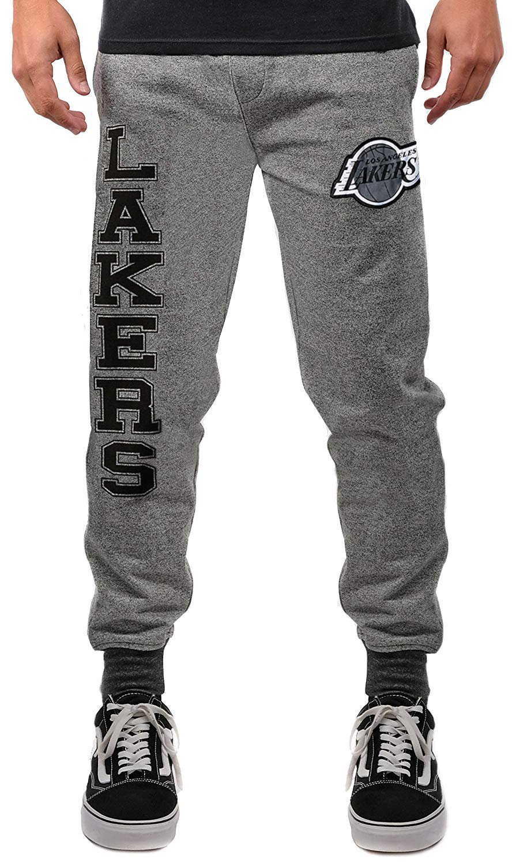 (Los Angeles Lakers, Small, Black Marl) - UNK NBA Men's Jogger Pants Varsity Stripe Marl Fleece Sweatpants, Black Marl   B076LTGNM8