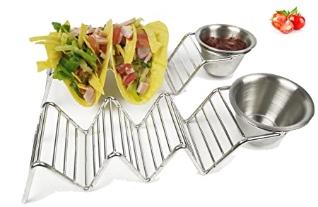 Taco Holder with Sauce Guacamole Cup HapWay Stainless Steel Taco Stand Mexican Food Taco Rack  sc 1 st  Amazon UK & Taco Holder with Sauce Guacamole Cup HapWay Stainless Steel Taco ...