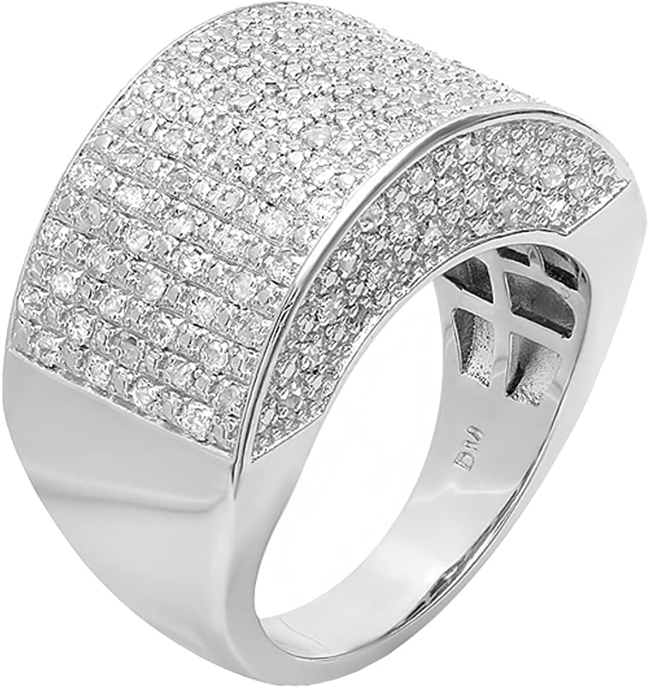 Dazzlingrock Collection 0.50 CT Fancy Design Round Diamond Men's Flashy Hip Hop Iced Pinky Ring 1/2 CT, Sterling Silver