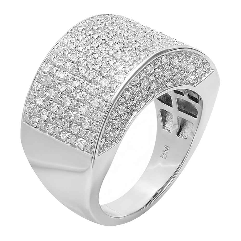 0.50 CT Sterling Silver Fancy Design Round Diamond Men's Hip Hop Iced Pinky Ring 1/2 CT (Size 10.5)