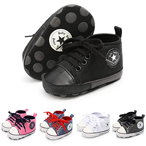 8493497d79d91 Baby Boys Girls Canvas Shoes Soft Sole High-Top Ankle Sneakers Infant  Newborn First Walker Prewalker Shoes(0-18 Months)