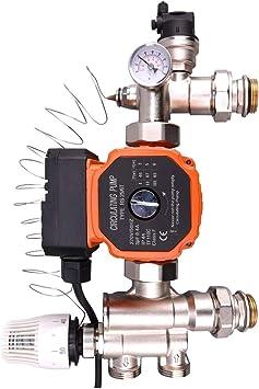 pour collecteur chauffage central pompe de circulation eau chaude Regulation plancher chauffant pompe melangeur de groupe securite tete thermostatique thermometre