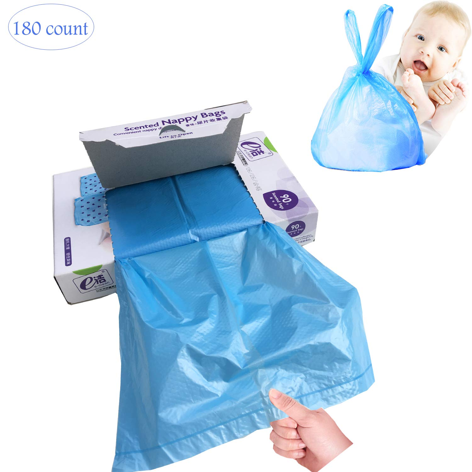 Disposable Scented Diaper Bags for Baby, Diaper Sacks Mask the Incontinence Odor Really, Fresh Light Baby Powder Scent, 180 Counts, Blue by HSD