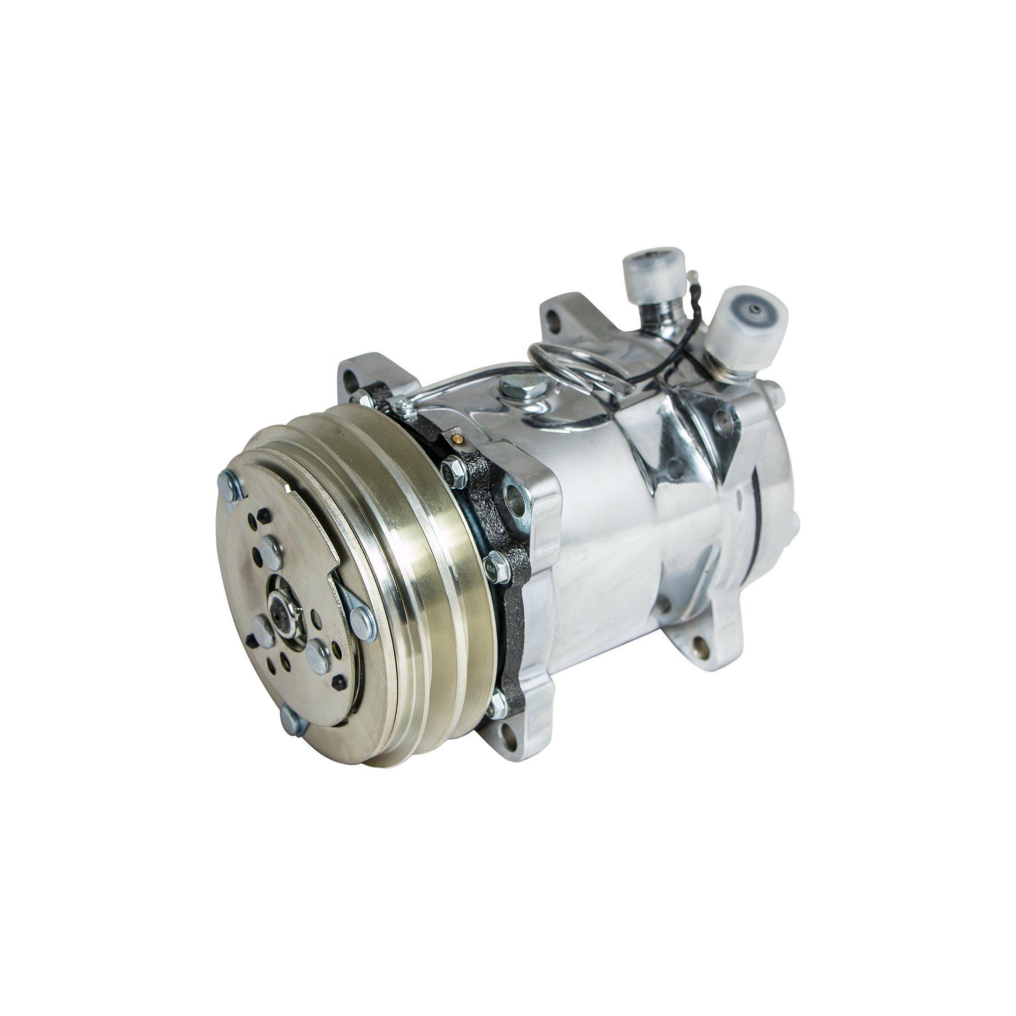 Top Street Performance HC5003C A/C Compressor with Silver Clutch (Chromed V-Belt Sanden 508 R134A Type)