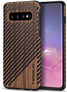 TENDLIN Galaxy S10 Case Wood Grain Outside Design and Flexible TPU Silicone Hybrid Slim Case Compatible with Samsung Galaxy S10 (Wood & Leather)