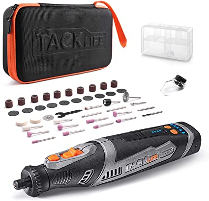 TACKLIFE Cordless Rotary Tool Powerful 8V Motor 2.0 Ah Li-ion Battery with 43 Accessories and Shield Attachment, Long Endurance Power, Perfect for Sanding, Grinding, Cutting and Engraving-RTD02DC - - Amazon.com
