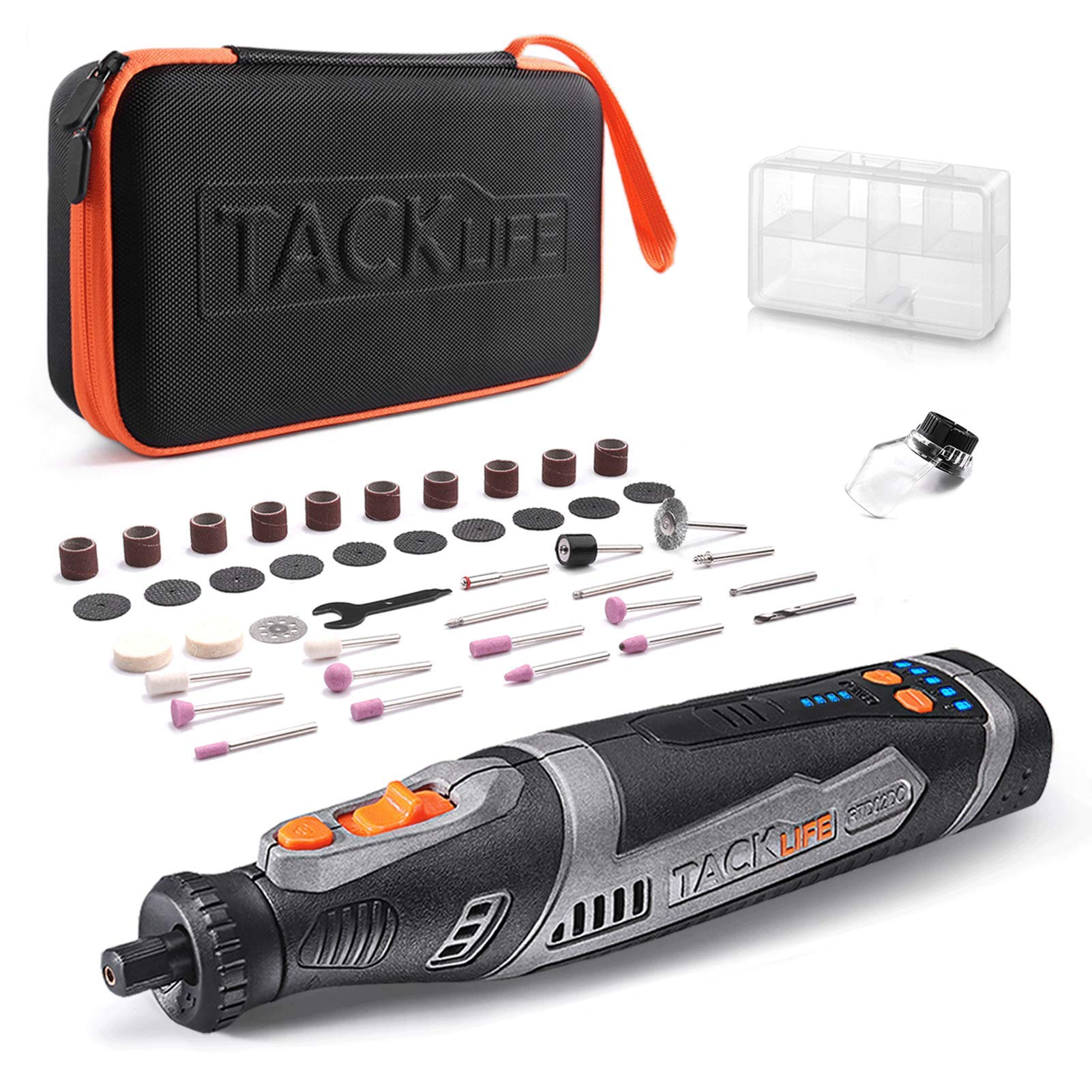 TACKLIFE Cordless Rotary Tool 8V Motor 2.0 Ah Li-ion Battery with 43 Accessories, Long Endurance Power,Perfect for Sanding, Grinding, Cutting, Engraving and Nail Grooming-RTD02DC