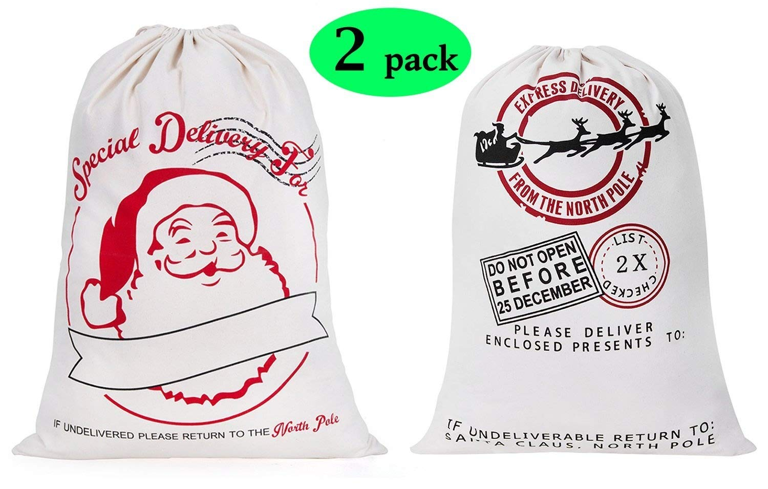 2 Pack Large Santa Sack Christmas Gift Bag with Drawstring 19.7 x 27.6 Inch for Storing Christmas Presents & Holiday Gifts Halloween Deal