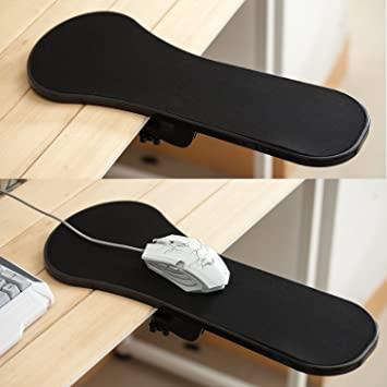 TRIXES Ergonomic Armrest Mouse Pad/Mat With Clamp For Chair Arm Or Desktop