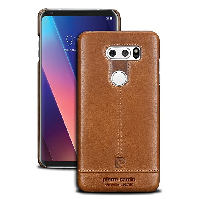 wholesale dealer 4b98c 45c18 LG V30 Leather case,Pierre Cardin Genuine Cow Leather Protective Slim Fit  Snap Case Skin Cover for LG V30 (Brown)